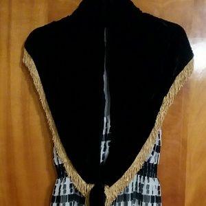 Vintage Black Crushed Velvet Wrap